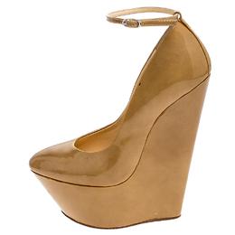 Giuseppe Zanotti Design Tan Patent Leather Ankle Strap Platform Wedge Pumps Size 36 240580