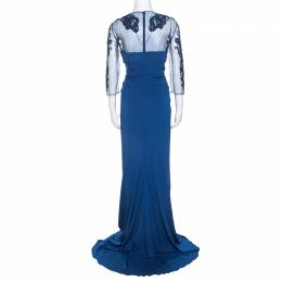 Zuhair Murad Blue Stretch Embellished Bodice Evening Gown M 238519