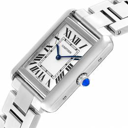 Cartier Silver and Stainless Steel Tank Solo W5200013 Women's Wristwatch 31 x 24MM 240120
