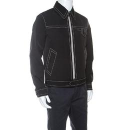 Prada Black Cotton Top Stitch Detail Point Collar Jacket M 240680