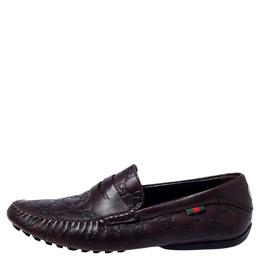 Gucci Dark Brown Guccissima Leather GG Loafers Size 41.5 240358