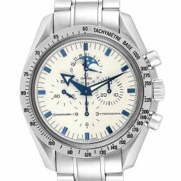 Omega White and Stainless Steel Speedmaster MoonPhase 3575.20.00 Men's Wristwatch 42MM 240192