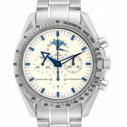 Omega White and Stainless Steel Speedmaster MoonPhase 3575.20.00 Men's Wristwatch 42MM 240191