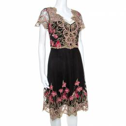 Marchesa Notte Black and Gold Floral Lace Applique Dress M