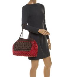 Carolina Herrera Red/Brown Quilted Satin and Leather Logo Pocket Shoulder Bag 238312