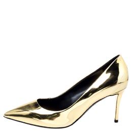 Giuseppe Zanotti Design Metallic Gold Leather Pointed Toe Pumps Size 38 240694