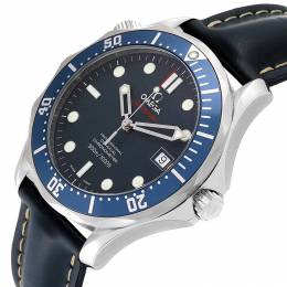Omega Blue and Stainless Steel Leather Seamaster Bond 300M 2220.80.00 Men's Wristwatch 41MM 240161