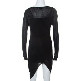 Just Cavalli Black Knit Sheer Asymmetric Dress S 238020