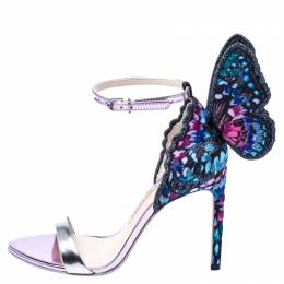 Sophia Webster Multicolor Patent Leather and Fabric Chiara Butterfly Ankle Strap Sandals Size 36 240382