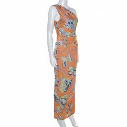 Emilio Pucci Multicolor Printed Jersey One Shoulder Dress S 238427