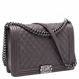 Chanel Taupe Quilted Leather Large Boy Flap Bag 235810