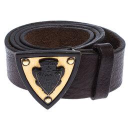 Gucci Dark Brown Leather Hysteria Crest Belt 85CM 237743