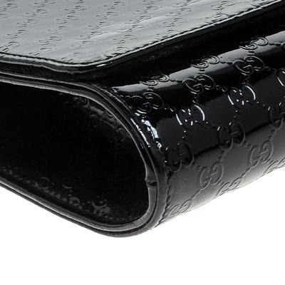 Gucci Black Microguccissima Patent Leather Broadway Clutch 235357 - 9