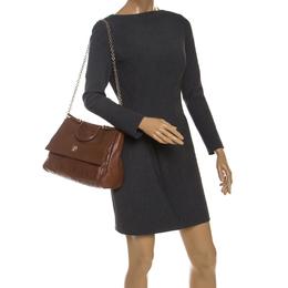 Carolina Herrera Brown Leather Minuetto Flap top Handle Bag 235884
