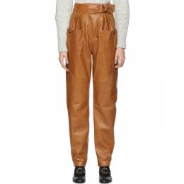 Isabel Marant Brown Leather Ferris Trousers 192600F06400102GB