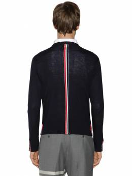 Fine Merino Wool Sweater W/ Stripes Thom Browne 71ILA9037-NDE10
