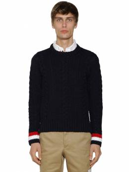 Aran Cable Knit Wool Crewneck Sweater Thom Browne 71ILA9036-NDE10