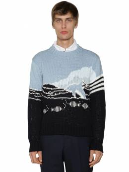 Dolphin & Sea Knit Cotton Sweater Thom Browne 71ILA9034-NDE10