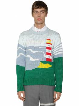 Light House & Sea Knit Cotton Sweater Thom Browne 71ILA9033-NDUw0