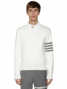 Milano Stitch Knit Cotton Crew Sweater Thom Browne 71ILA9032-MTAw0