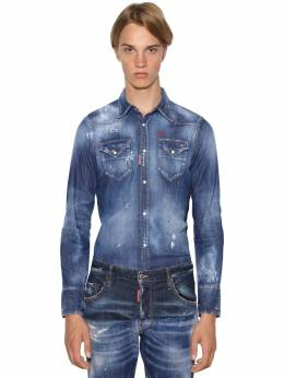 Classic Fit Stretch Cotton Denim Shirt Dsquared2 71IG7E078-NDcw0