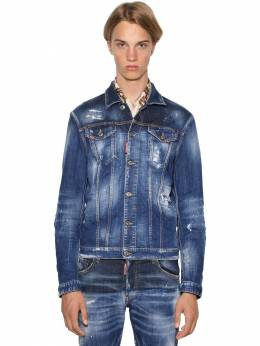 Painted Dan Stretch Cotton Denim Jacket Dsquared2 71IG7E077-NDcw0