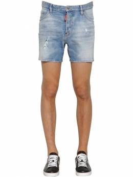 26.5cm Dan Commando Cotton Denim Shorts Dsquared2 71IG7E036-NDcw0