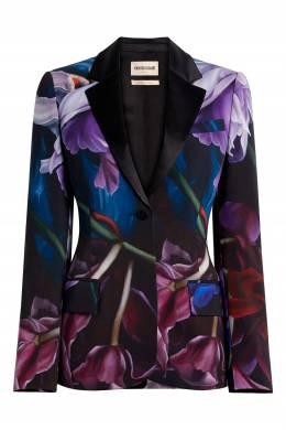 Приталенный пиджак с цветочными принтами Roberto Cavalli 314163531