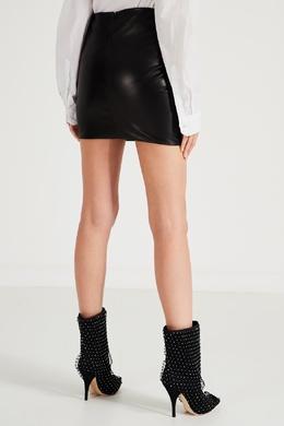 Кожаная мини-юбка с драпировкой Alexandre Vauthier 356162265