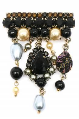 Брошь с подвесками и черными кристаллами Etro 907163687