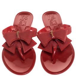 Salvatore Ferragamo Red Rubber Bali Thong Sandals Size 35.5 241660