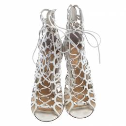 Gianvito Rossi White Cutout Leather Lace Up Peep Toe Sandals Size 37 239847