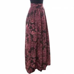 Max Mara Red Printed Silk Pleated Maxi Skirt M 241319