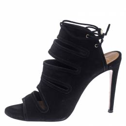 Aquazzura Black Suede Cut Out Ankle Wrap Sandals Size 38 240366