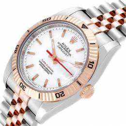 Rolex White 18K Rose Gold Stainless Steel Turnograph Datejust 116261 Men's Wristwatch 40 MM 241480