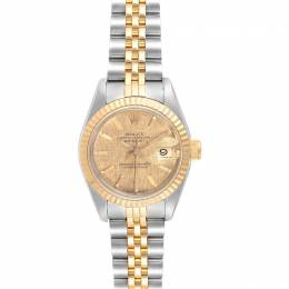 Rolex Gold Linen 18K Yellow Gold Stainless Steel Datejust 69173 Women's Wristwatch 26 MM 240439