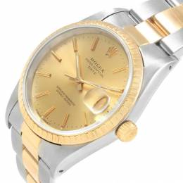 Rolex Champagne 18K Yellow Gold and Stainless Steel Date 15223 Men's Wristwatch 34MM 240238