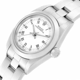 Rolex White Stainless Steel Oyster Perpetual 76080 Women's Wristwatch 24 MM 241434