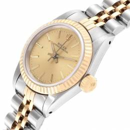 Rolex Champagne 18K Yellow Gold Stainless Steel Oyster Perpetual 67193 Women's Wristwatch 24 MM 241423