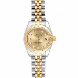 Rolex Champagne Diamonds 18K Yellow Gold Stainless Steel Datejust 179173 Women's Wristwatch 26 MM 240435