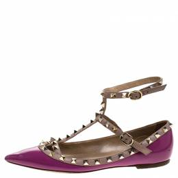 Valentino Purple Patent Leather And Leather Rockstud Double Ankle Strap Cage Ballerina Flats Size 38 239724