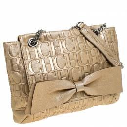 Carolina Herrera Metallic Gold Monogram Leather Audrey Shoulder Bag 237754