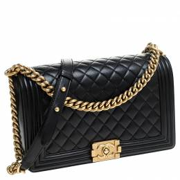 Chanel Black Quilted Leather New Medium Boy Flap Bag 235819