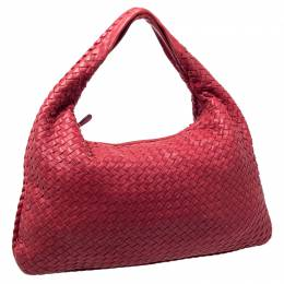 Bottega Veneta Red Nappa Leather Intrecciato Large Veneta Hobo 237969