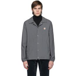 Maison Kitsune Grey Bertil Fox Head Jacket 192389M18000301GB