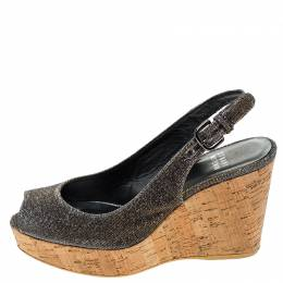 Stuart Weitzman Grey/Gold Shimmer Fabric Jean Peep Toe Cork Wedge Slingback Sandals Size 36