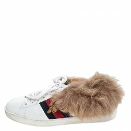 Gucci White Leather and Fur Ace Embroidered Bee Low Top Sneaker Size 42 241697