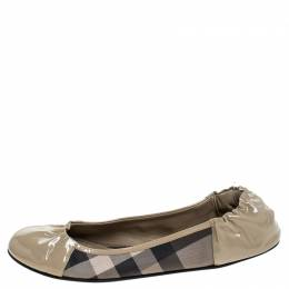 Burberry Beige Bead Check Patent Leather and PVC Scrunch Ballet Flats Size 39