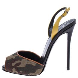 Giuseppe Zanotti Design Multicolor Camouflage Canvas And Leather Slingback Sandals Size 37.5