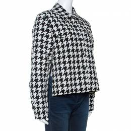 Off-White Monochrome Wool Blend Houndstooth Jacket M 242050